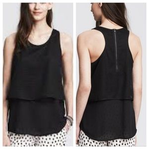 BANANA REPUBLIC Layered Mesh Tank Top XS Black
